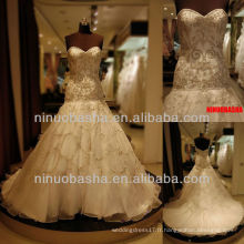 Q-6230 broderie organza robe de mariée sweetheart robe de mariée