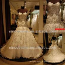 Q-6230 Bordado vestido de noiva Organza Vestido de Noiva Sweetheart