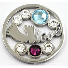Silver Foot & Love Coin Plate Fit 33/35 / 38mm Floating Locket