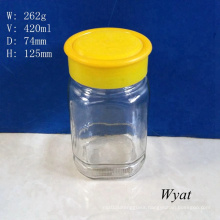 15oz 420ml Square Glass Honey Jar Glass Honey Jars with Plastic Cap