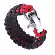 Bracelet de survie de sécurité Bracelet à vis en acier inoxydable réglable Broche de paracord
