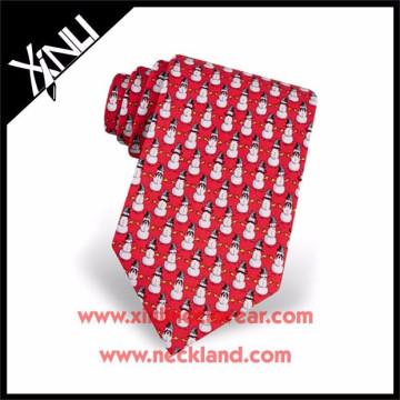 2015 New Fashion Men Custom Made Silk Printed Christmas Tie Neckti