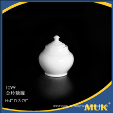 2015 the best selling products china round design white ceramic sugar holder