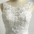 Romantique Scoop Neck Backless mousseline de soie perlée appliques Belle sirène robe de mariée sexy