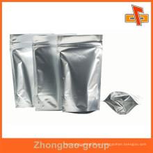 Stand up bolsa de alimentos de cerradura de cremallera bolsa de mylar de aluminio de plata de aluminio