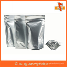 Stand up zipper lock food pouch silver aluminum foil mylar bag