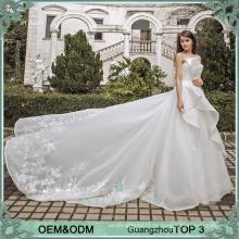 Vestido de alibaba de estilo princesa Vestidos de babados brancos Imagens reais de bonitos vestidos de noiva