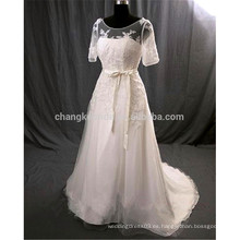 Por encargo blanco mangas cortas de encaje vestido de novia de la vendimia princesa nupcial vestido