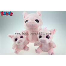 New Design Plush Stuffed Pink Pig Toy with Big Eyes Bos1168