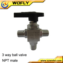 SS316 industrial and laboratory sytem line 3/8 inch 1/2inch 3 way gas mini ball valve