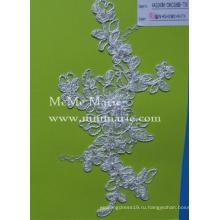 Ткань шнурка вышивки для свадебное платье с жемчугом шнур кружева цвета слоновой кости CMC386B-Т58