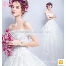 Alibaba Guangzhou fábrica de vestido de bola de hombro Sexy vestido de novia