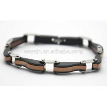 316L acero inoxidable negro y oro antiguo pulseras de cadena de enlace