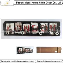 Placa de parede de madeira decorativa com gancho de cerâmica ganchos