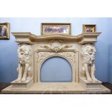 Maison salon décoration marbre cheminée manteau avec lion