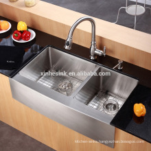 American cUPC Stainless Steel Apron Front Farmhouse Kitchen Sink with Deep Double Bowl