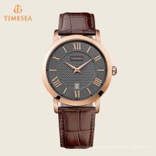 Homens PVD Rose Case Brown pulseira de couro relógio de quartzo 72258