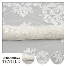Oem service fashionable white bridal cording indian embroidered fabric