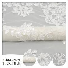 Oem serviço elegante branco nupcial cording indiano tecido bordado