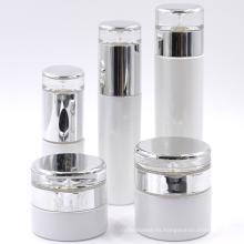 Empaquetado cosmético 50ml 100ml botella vacía de la botella de cristal blanca de la botella de la perla 120ml botella de la loción de cristal 60ml con la tapa del metal