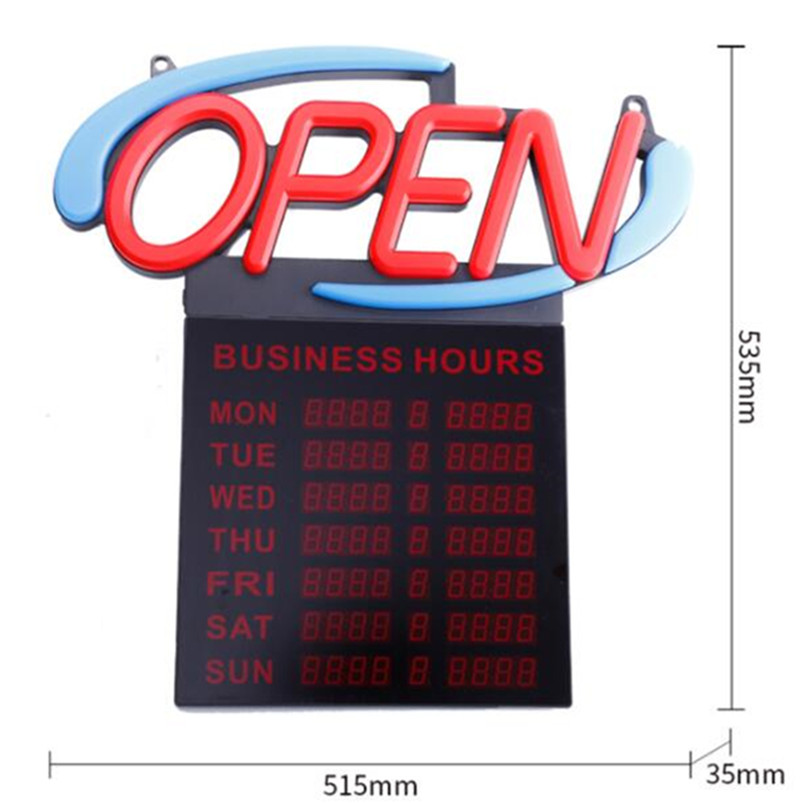 Open Sign With Hours