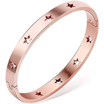 Good Quality engraved hollow star initial buckle bangle bracelet for Women Girl Gifts
