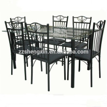 Black Stainless Steel Dining Room Set