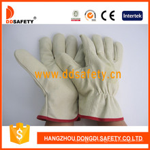 Pig Grain Leather Lining Safety Working Driver Glove Dld412