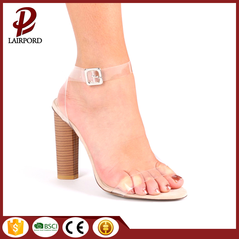 2017 stylish women high heel PVC sandals