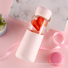 Creative Cartoon Double Layer Glass Cute Portable Hand with Lid Beware of Hot Girl Student Water Cup