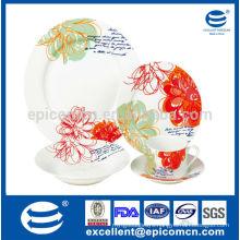 dinnerware new bone china wholesale with big flower printing