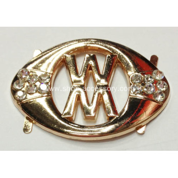 Ellipse Metal Decorative Buckles with Letters Pattern Rhinestone Centered