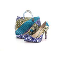Neue Design afrikanischen Wachs bedruckte Stoffe Schuhe mit Taschen (Y 61)