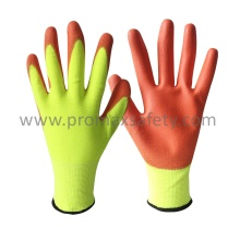 Hi-Vis Polyester Knitted Gloves with Orange PU Coating on Palm