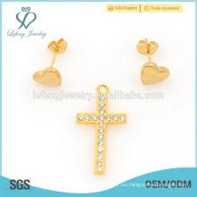 2015 estilo de mezcla de oro amarillo de acero inoxidable conjuntos de joyería en línea al por mayor