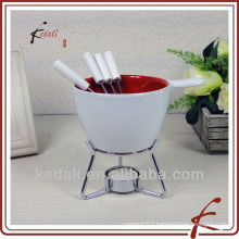 ceramic fondue cookware set with fork