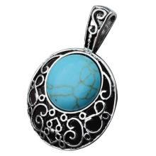 Turquoise 20MM Cabochon Alloy Gemstone Pendant