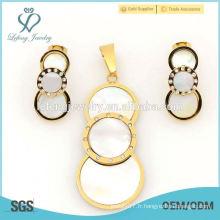 Boucles d'oreilles en or rond à la mode et pendentifs achètent des ensembles de bijoux en gros