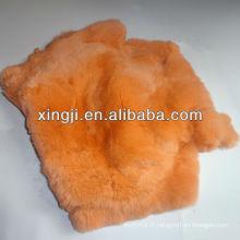 rex peau de lapin de lapin teint couleur orange rex lapin pour manteau de fourrure