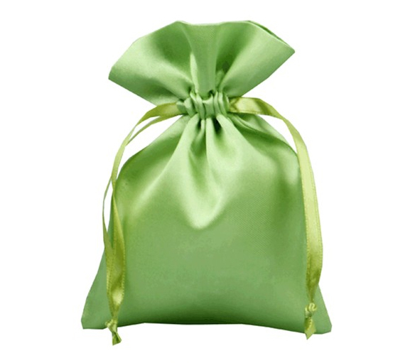 green satin bag pouch for hair