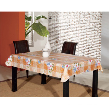 Square Shape PVC White Film Printed Tablecloth for Home/Party