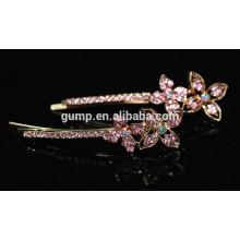 Nueva flor de diseño brillante cristal Barrette Rhinestone Bobby pin