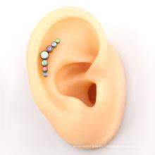 ASTM F136 Titanium 7 pieces Opal cluster ear helix earring for women
