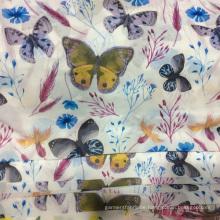 Neue frische Schmetterling Polyester Druckstoff Kleid Chiffon-Kleid