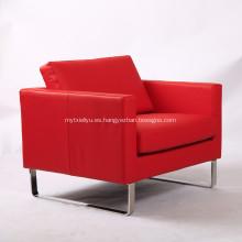 Silla de sofá de cuero genuino rojo