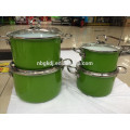 enamel cookware set with full decal& SS knob with glass lid