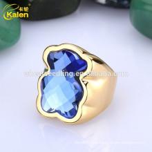 Glitter zarte Mode Dame 18k Glück Stein Stein 925 Silber Ring
