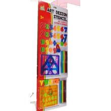 Brinquedos educativos com cartas e régua de estêncil