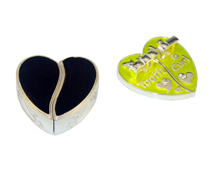 Baby heart shape Epoxy with silver first tooth box and curl box set