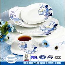 Ensemble de dîner en porcelaine en forme de carré 19PCS EX7107